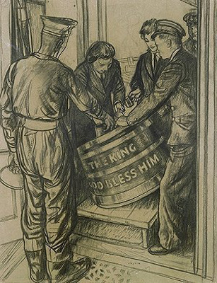 Austin, Robert Sargent RA - Imperial War Museum WRNS serving rum to a sailor from a tub inscribed 'THE KING GOD BLESS HIM'.